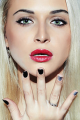 Beautifu blond Woman with Manicure.Beauty Girl.Nail design