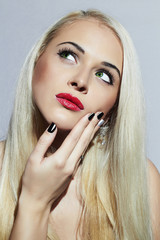 Beautiful blond Woman with Manicure.Tender Beauty Girl.Nail art