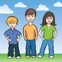 Three happy kids standing