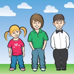 Happy kids standing