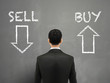businessman and a choice of sell or buy