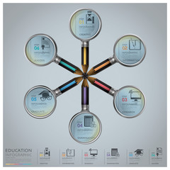Education And Graduation Infographic With Magnifying Glass And P