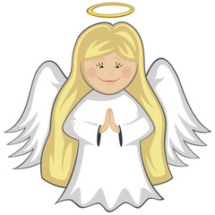 Little Cute Angels - blonde angel praying (outlined)