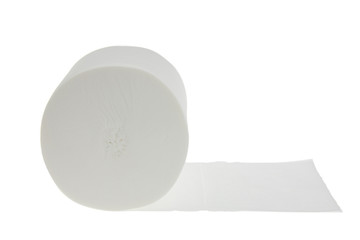 Toilet paper on a white background