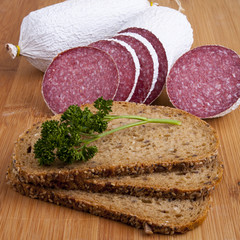 sausage - salami, bread, parsley