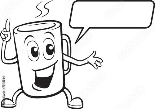 coloring book - cartoon smiling mug character - 75114564