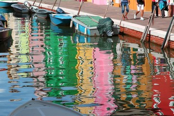 houses on BURANO island reflected on the water of the sea near V