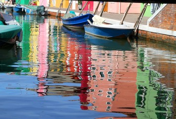 houses of the island of burano and boats