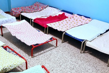 dormitory with small beds to sleep nursery children