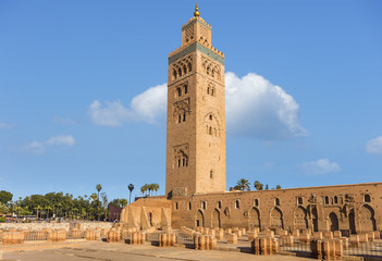 Koutoubia mosque in marrakech morocco.