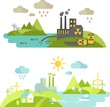 Panoramic landscape with ecology concept and concept pollution - 75115741