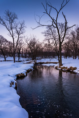 Winter view of a creek in rural York County, Pennsylvania.