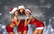 Happy Holidays postcard.Three Sexy Santa's Helpers blowing snow