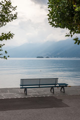 lonely bench overlooking the lake Maggiore