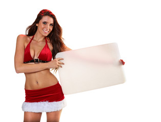 Sexy Santa's Helper holding blank cardboard