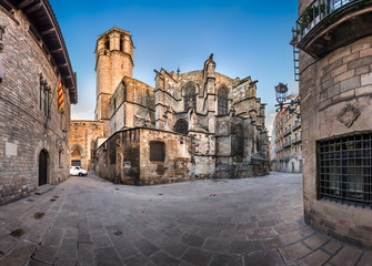 Panorama of Cathedral of the Holy Cross and Saint Eulalia, View