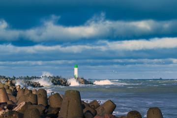 Breakwater in storm.