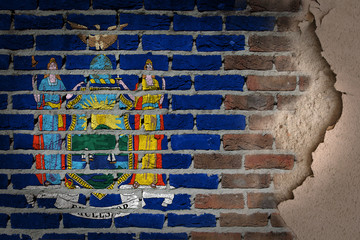 Dark brick wall with plaster - New York