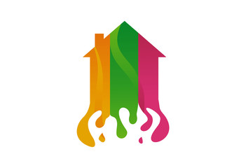 Home color painting logo vector