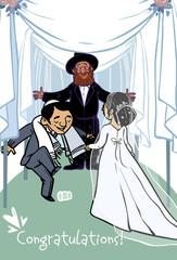 Happy wedding greeting card. Vector illustration