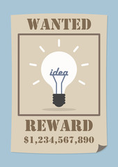 Wanted poster with light bulb idea