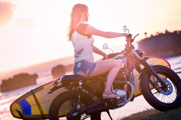 Woman adventure on motorcycle