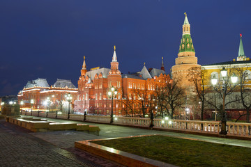 The State Historical Museum of Russia at night. Moscow