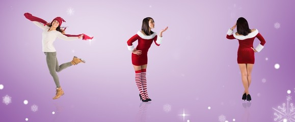 Composite image of different pretty girls in santa outfit