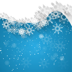 blue christmas background template with white snowflakes