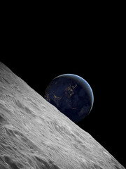 Earthrise over Moon above the Earth on a starless sky.
