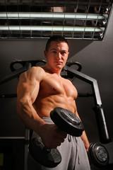Bodybuilder training hard
