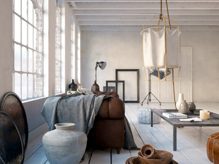 Ledersofa in Loft Apartment - Sofa in white Loft aparment