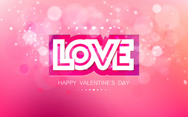Vector paper inscription love cut on a pink background