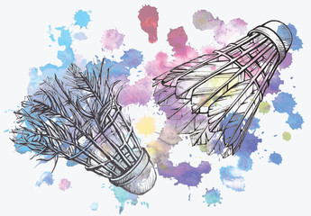 Old and new shuttlecock in sketch style on watercolor background