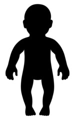 Full length front view standing baby silhouette