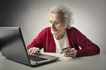 Grandmother using technology