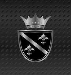 heraldic elements on metallic background