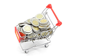 shopping cart with full coins