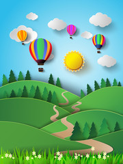 Hot air balloon high in the sky with sunlight.Vector illustratio