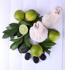 Spa composition with lime and compress balls