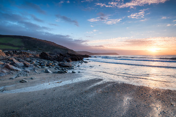 Sunrise at Portholland in Cornwall