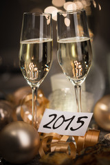 2015 new years eve party table with two champagne flute