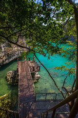 View wooden platform near the blue lagoon in marine national