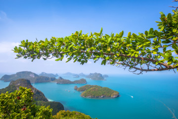 A Beach of Angthong Marine National Park. View from mountain on