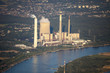 Rhine River with coal-fired Power Station in the Lower Rhine Reg - 75123112