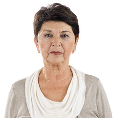 Portrait of a mature adult woman isolated on white background.