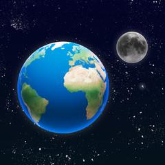 Pianeta terra con luna