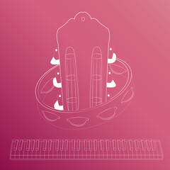 Piano and guitar line vector business