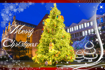 Merry Christmas card with illuminated christmas tree