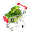 Oversized broccoli in shopping cart
